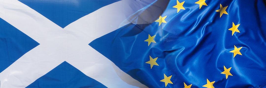Scottish flag and EU flag